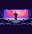 speaker on modern stage in conference hall screen vector image vector image