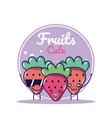 strawberries cute fruits cartoons vector image vector image
