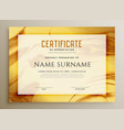 stylish golden marble texture certificate design vector image