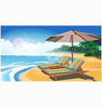 two deck chairs and an umbrella on the beach vector image vector image