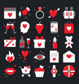 valentine day icon set in flat style vector image