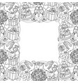 wedding objects seamless frame vector image vector image