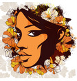 woman face decorated with flowers on the vector image
