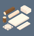 wooden isometric set stacked lumber branches vector image vector image