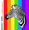 Zebra portrait on abstract rainbow strips vector image vector image