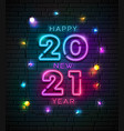 2021 neon light number happy new year vector image