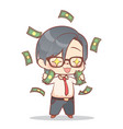 a businessman is happy to have lots of money cash vector image