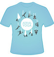 aerial yoga t-shirt design with woman silhouettes vector image vector image