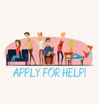 apply for help to psychologist poster vector image vector image