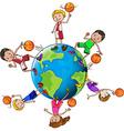 Basketball players with ball around the world vector image vector image