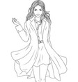 beautiful girl in a stylish coat coloring book vector image vector image