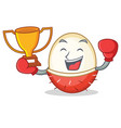 boxing winner rambutan mascot cartoon style vector image vector image