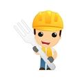 Builder holding giant fork
