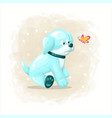 cartoon cute dog playing with butterfly vector image vector image