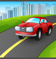 cartoon red car on the urba vector image