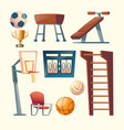 Cartoon set of gym equipment for school