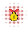 Champion gold medal icon comics style vector image vector image