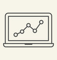 chart on laptop thin line icon graph on notebook vector image vector image