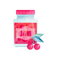 cherry jam glass jar of berry confiture vector image vector image