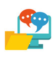 computer with chat bubbles and folder symbol vector image vector image