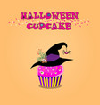 cute happy halloween cupcake with rose cream vector image vector image