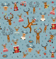 cute reindeer flat seamless pattern elements for vector image vector image