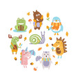 cute wild animals round shape snail moose vector image vector image