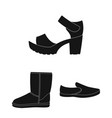 different shoes black icons in set collection for vector image
