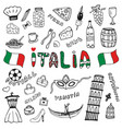 doodle hand drawn collection of italy icons italy vector image