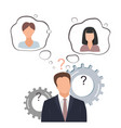 employer chooses from two woman employees or vector image