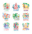 exotic islands summer vacation colorful logo set vector image vector image