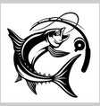 fish with fishing rod in monochrome style logo vector image