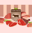 fresh meat from local farm vector image vector image