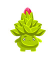 funny sad succulent emoji cartoon emotions vector image vector image