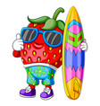 funny strawberry cartoon surfing vector image