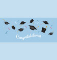 graduating black caps up in air vector image vector image