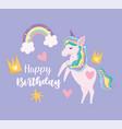 happy birthday unicorn crown rainbow stars hearts vector image vector image
