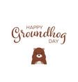 happy groundhog day handwritten text with marmot vector image