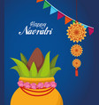 happy navratri celebration card with lettering vector image vector image