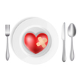 heart on a plate vector image