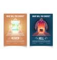 heaven and hell brochures cartoon template vector image vector image