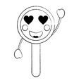 magnifying glass heart eyes kawaii icon image vector image