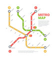 metro map city railway road direction vector image