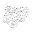 nigeria map of polygonal mosaic lines network vector image vector image