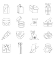 Packaging icons set outline style vector image