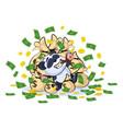 panda bear lies happy on bags of money vector image vector image