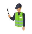 Parking attendant icon in cartoon style isolated vector image