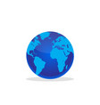 planet earth with shadow on a white background vector image vector image