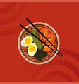 premium ramen bowl with red background vector image vector image