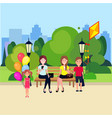 public park boy hold kite girl with bubbles vector image